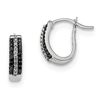 925 Sterling Silver Polished Prong set Gift Boxed Rhodium-plated Black and White Diamond Earrings