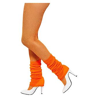 Womens Orange 80er Jahre Legwarmers Fancy Dress Zubehör