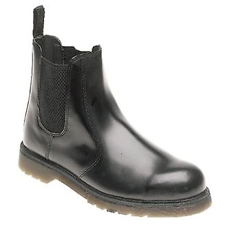 Toesavers Black Leather Safety Dealer Boot AC03 with Aircushioned PVC Sole