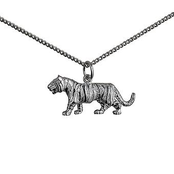 Silver 12x27mm Tiger Pendant with a curb Chain 24 inches