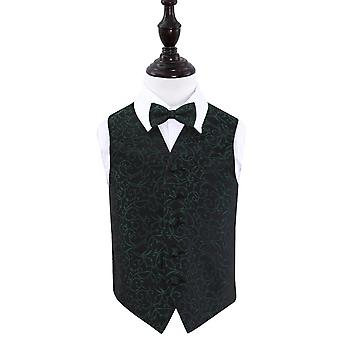 Boy's Black & Green Swirl Wedding Waistcoat & Bow Tie Set