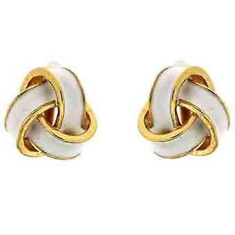 Clip On Earrings Store White Enamel Knot Clip On Earrings