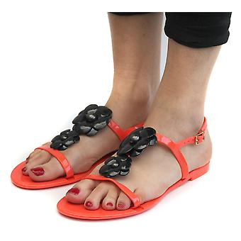 Coral Jelly Open Toe Flower Womens Slingback Sandals