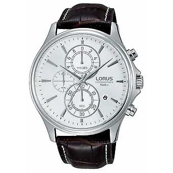 Lorus Mens Brown Leather Strap White Dial RM315DX9 Watch