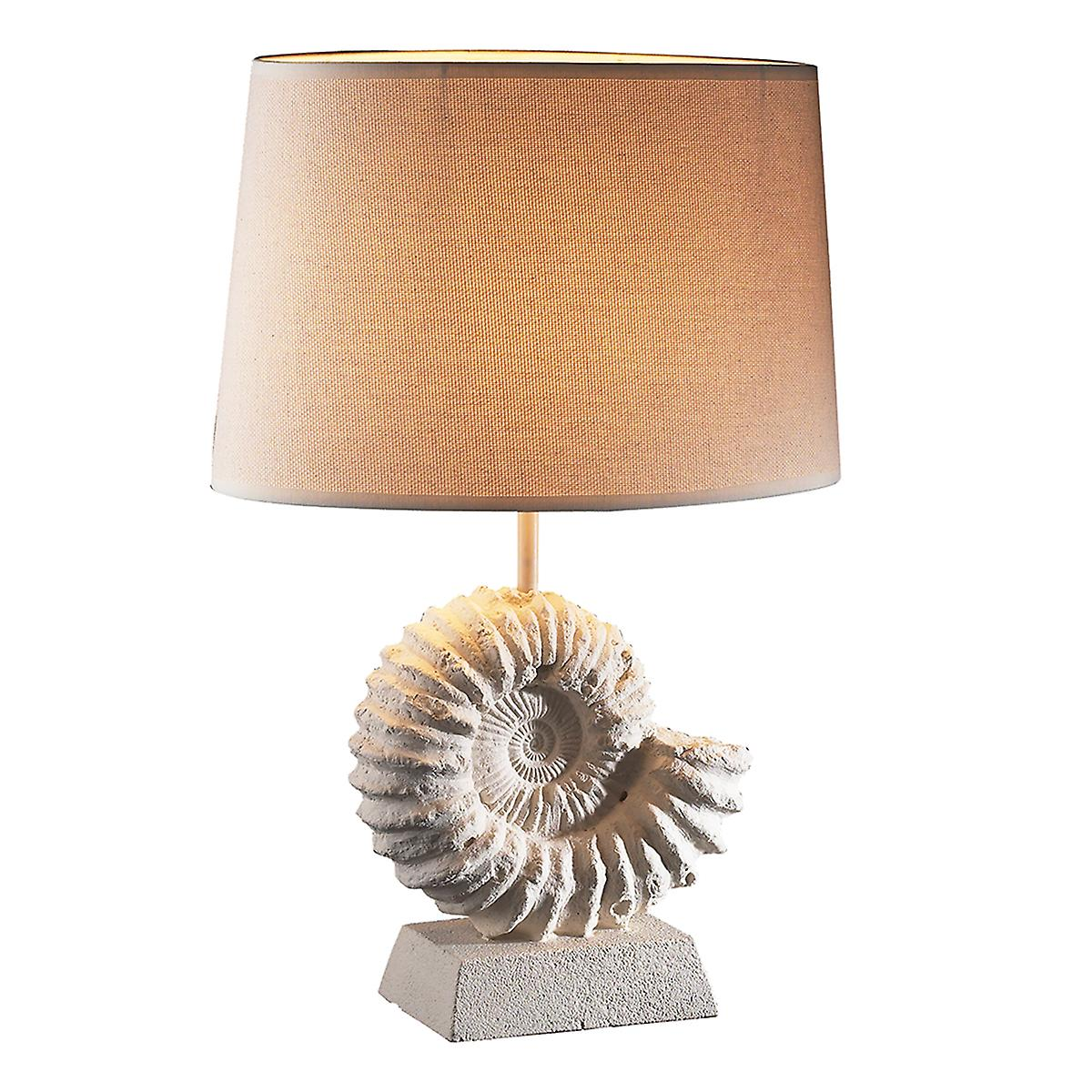 David Hunt AMM4334 Ammonite Stone Effect Table Lamp With Fine Hessian Shade