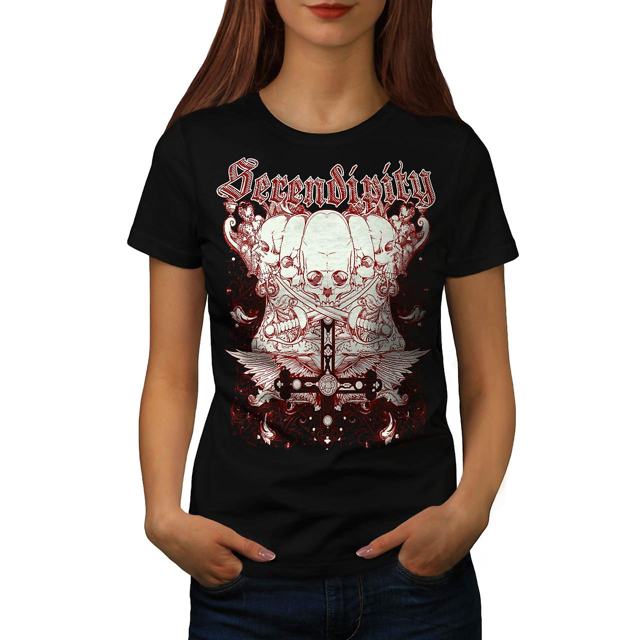 Serendipity Death Skull Women Black T-shirt | Wellcoda