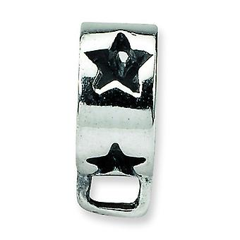 Sterlingsilber polierte Antique finish Reflexionen Star Schleife Click-on Bead Charm