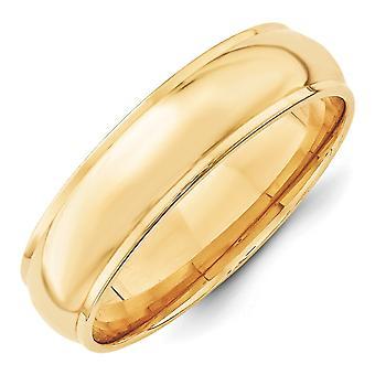 14k geel goud 6mm ronde met rand Band Ring - Ringmaat: 4 tot en met 14