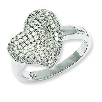Sterling Silver Rhodium-plated and Cubic Zirconia Fancy Polished Heart Ring - Ring Size: 6 to 8