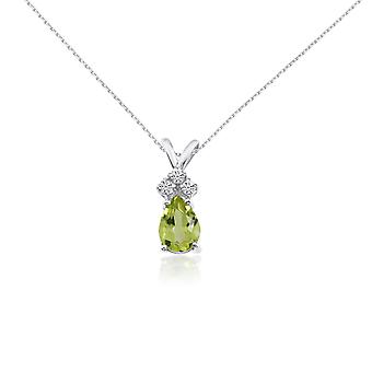 14k White Gold 7X5 Peridot Pear Pendant with Diamonds and 18