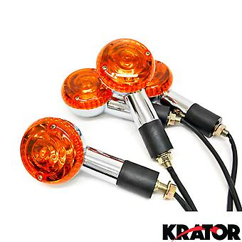 Krator® Motorcycle 4 pcs Amber Round Turn Signals Lights For Harley Davidson Ultra Tour Glide Classic