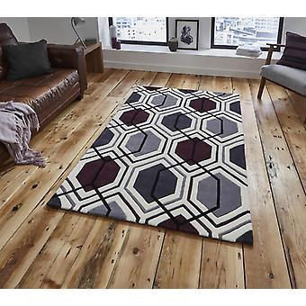 HK 7526 crème donker paarse rechthoek tapijten moderne tapijten