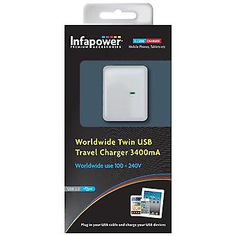 Infapower Worldwide Twin USB Travel Charger 3400mA (P024)