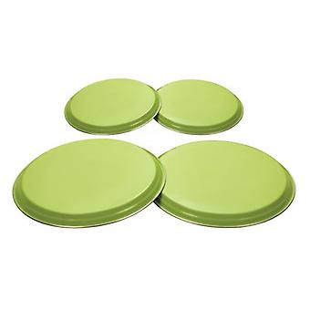 COLOURS 4pc Electric Gas Cooker Hob Cover Set Stainless Steel - Lime Green