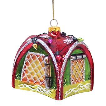 Outdoorsman telt indrettet til ferie glas julepynt