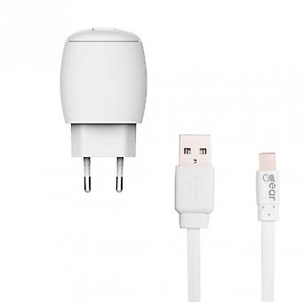 GEAR Charger 220V 1xUSB 1A White MicroUSB Cable 1 m