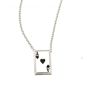 W.A.T 925 Sterling Silver 'Ace Of Hearts' Necklace By Kissika