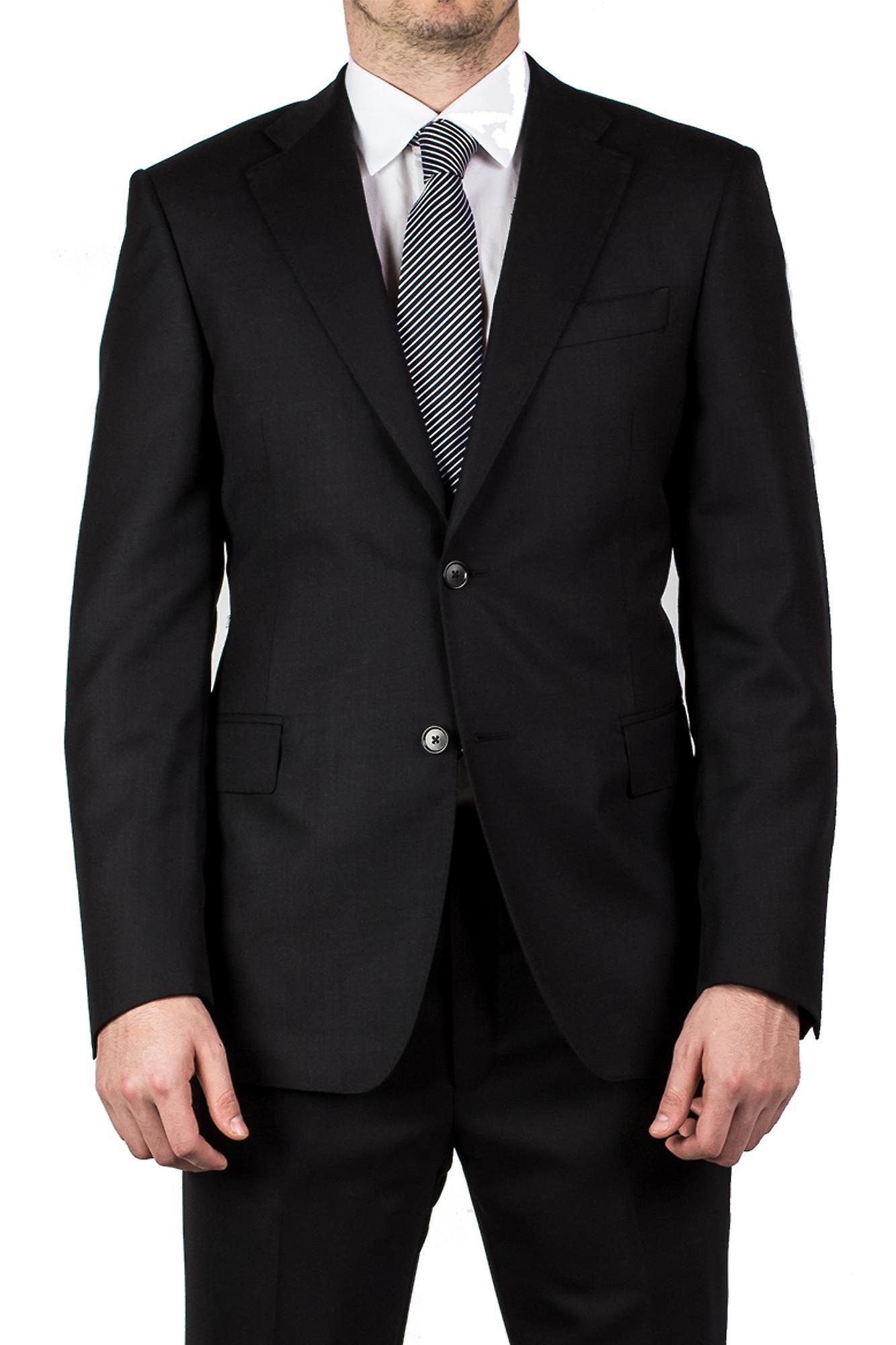Luciano Barbera Club mænd Slim Fit uld to knap jakkesæt sort