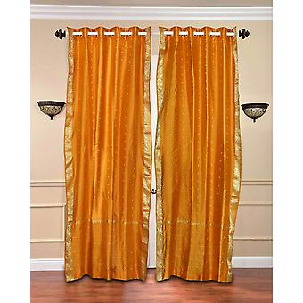 Mustard Ring Top  Sheer Sari Curtain / Drape / Panel  - Piece