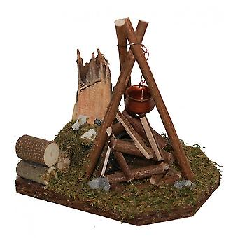 Campfire tripod flickering light with boiler Nativity accessories for Nativity scene Christmas crib
