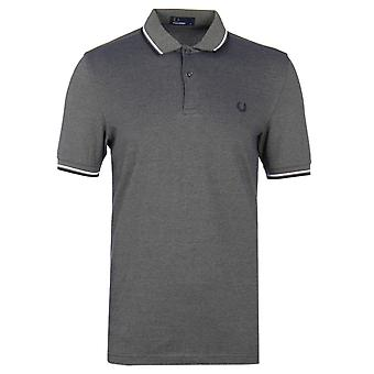 Fred Perry Olive Carbon Twin Tipped Pique Polo Shirt