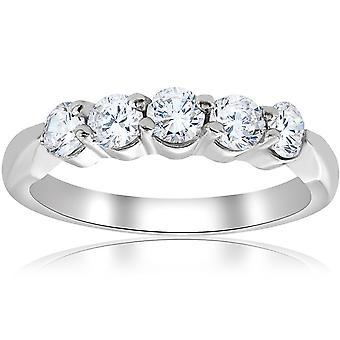 1 / 2ct runda Diamond Wedding Ring 14K białe złoto pięć kamień