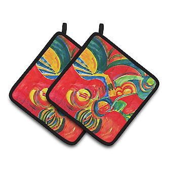 Christmas Holly Berries Abstract Pair of Pot Holders