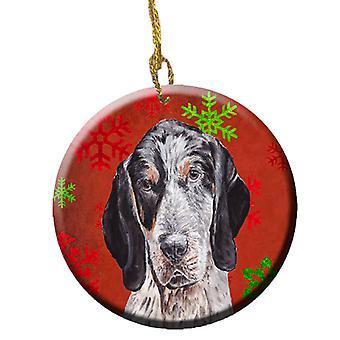 Синий клеща Coonhound красный снежинки праздник керамики орнамент