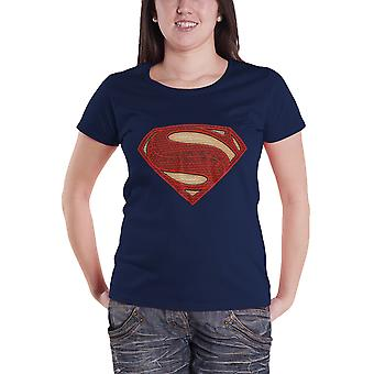 Superman T Shirt Superman Man Of Steel Logo neue offizielle Womens Navy Skinny Fit