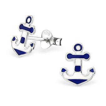 Anchor - 925 Sterling Silver + Epoxy Colour Colourful Ear Studs