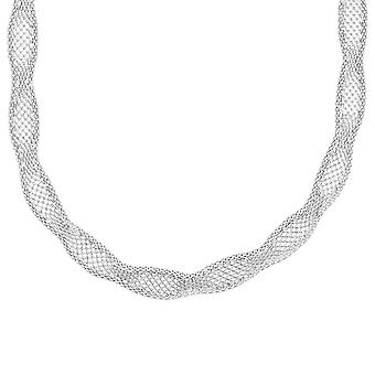 Sterling Silver 925 Womens Stylish Fine Statement Necklace Choker Wavy Elegant Design Width 9mm