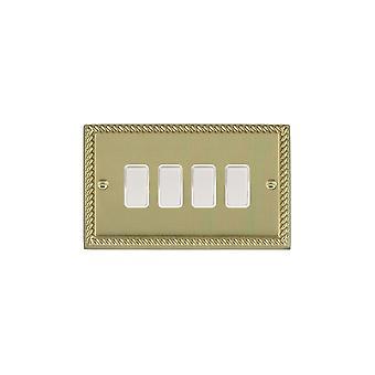 Hamilton Litestat Cheriton Georgian Polished Brass Rkr 2 Way 4g 10AX WH/WH