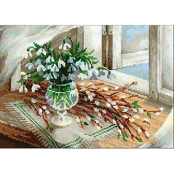 Willow And Snowdrops Counted Cross Stitch Kit-11.75