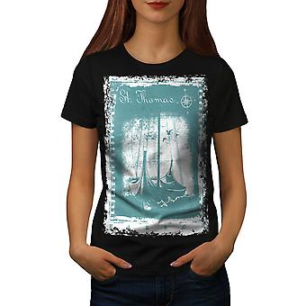St. Thomas Ship Women BlackT-shirt | Wellcoda