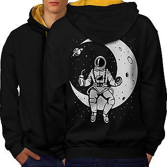 Space Moon Sky Fashion Men Black (Gold Hood) Contrast Hoodie Back | Wellcoda