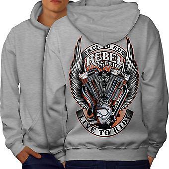 Free Riding Men GreyHoodie Back | Wellcoda