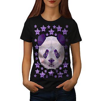 Panda Star Cute Animal Women BlackT-shirt   Wellcoda