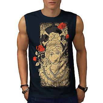 Mädchen T-Shirts in Knochen Rose Mode Herren NavySleeveless | Wellcoda