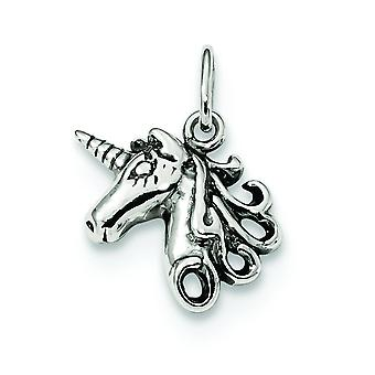 Sterling zilveren solide gepolijst Open rug Antique finish Boulder Unicorn hoofd charme -.7 gram