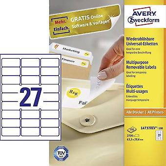 Avery-Zweckform L4737REV-100 Labels (A4) 63.5 x 29.6 mm Paper