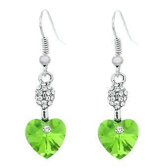 Dames hart gevormde Dangle Oorbellen groen