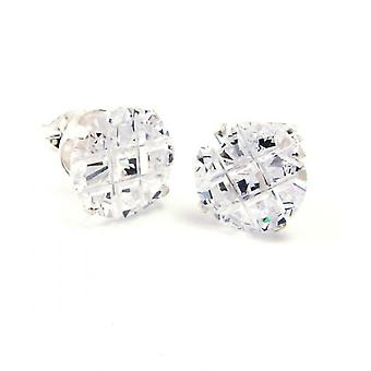 925 sterling silver iced out earrings - round CUT cubic zirconia