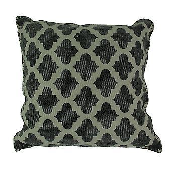 Kohle-graue marokkanischen Vierpass Design Baumwolle Dhurrie Kissen 20 Zoll