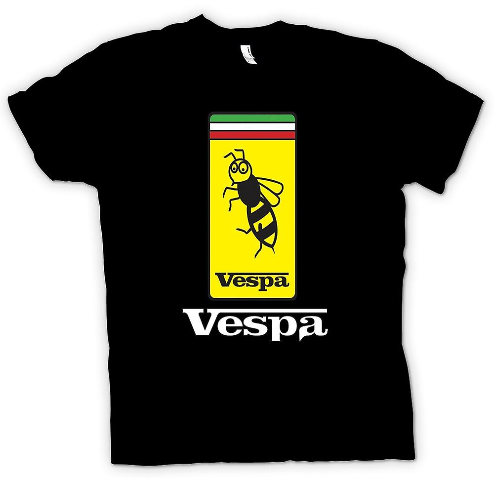 Womens T-shirt-Vespa Scooter Badge - Bee - Mod