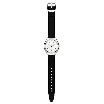 Swatch Syxs100 Skinnoiriron Silver & Black Rubber Watch