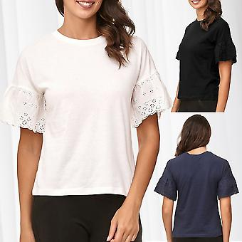 JDY JACQUELINE DE YONG Ladie's T-Shirt Short Trumpet Sleeves Flounces Blouse
