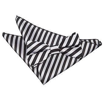 Zwarte & Silver dun Stripe strikje & zak plein instellen