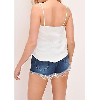 Knop Front Cami Top wit