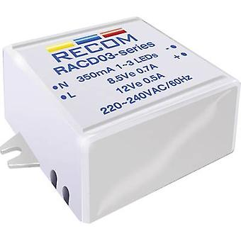 Constant current LED driver 3 W 700 mA 4.5 Vdc Recom Lighting SC 60 Max. operating voltage: 264 V AC