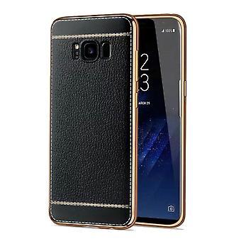 Cas de téléphone portable pour Samsung Galaxy A3 2017 sac boîtier protecteur en faux cuir noir